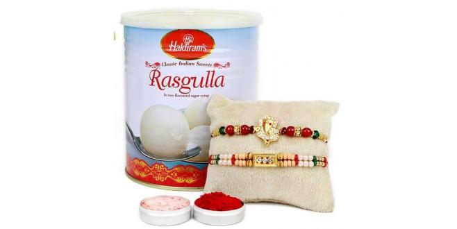 Rakhi With Rasgulla Combo
