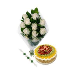 Enigmatic White Roses for Rakhi